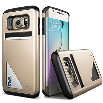 URCOVER Funda Samsung Galaxy S6 Edge | Carcasa Protectora Doble LIFIC Mighty | Card Slot Bumper Antigolpes Champaña Oro