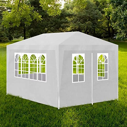 Furnituredeals Cenador con Cortina Carpa de Fiesta 3x4 4 Paredes Blanca Carpas Plegables: Amazon.es: Jardín