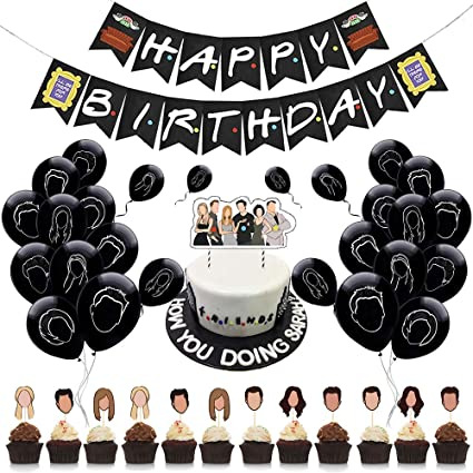 Friends Themed Party Cupcake Toppers Friends TV Show Party Decorations Supplies Set Birthday Party Decorations Cupcake Inserts Balloons and Stickers (68Pcs)