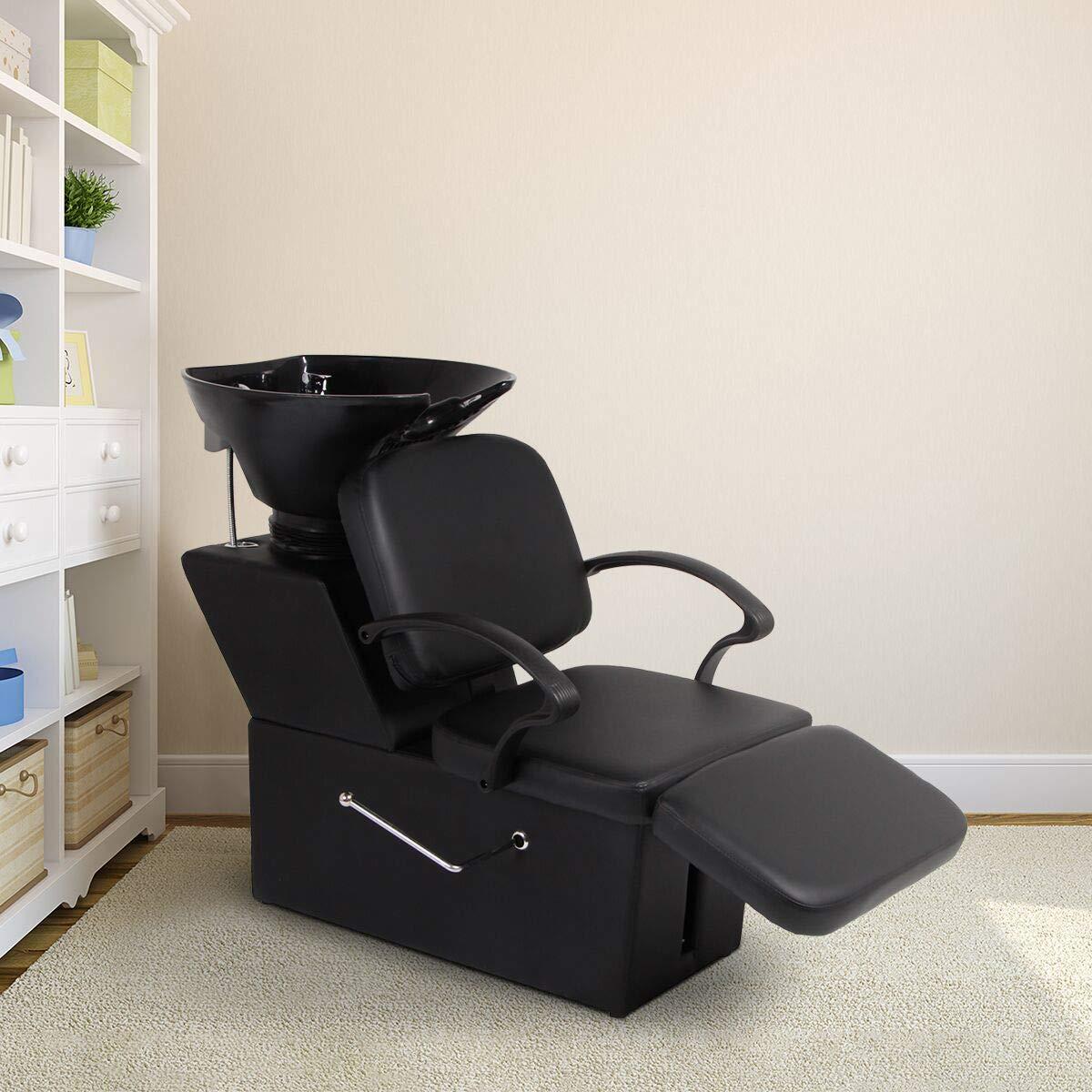 Esright Shampoo Chair Backwash Sink Adjustable Footrest Salon&Spa barber Chair (Adjustable)