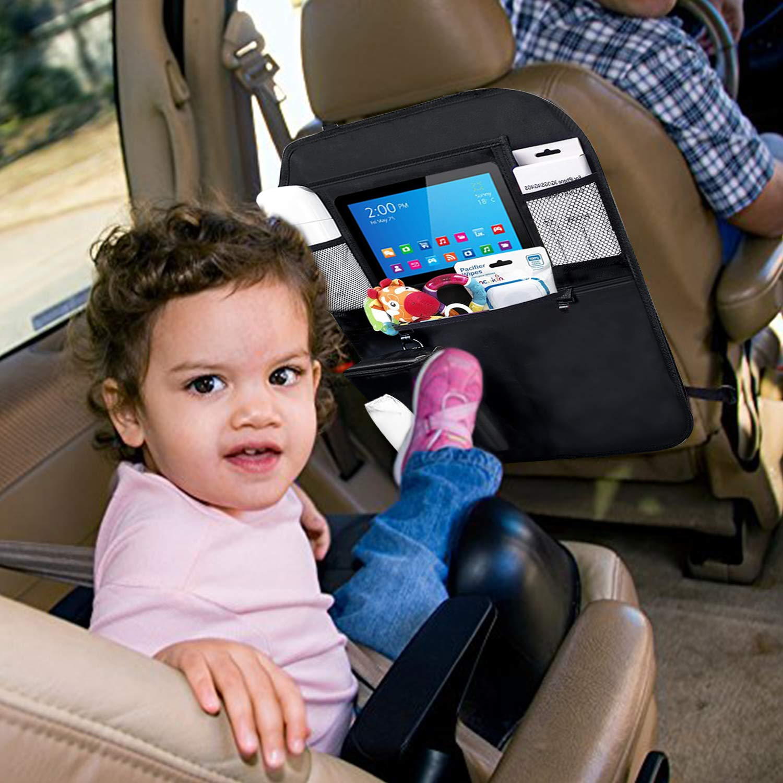 EletecPro 2 Pack Car Back Seat Organizer,Washable Kick Protector with 1 Tissue Box,Multi-Pocket Storage for Toy//Bottles//Umbrella//10 iPad