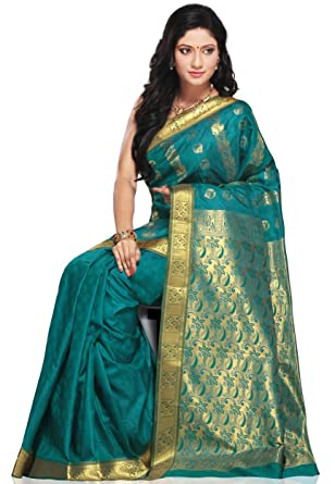 fa7664821a6 Poly Silk Sarees with Peacock green colour  Amazon.in  Clothing    Accessories