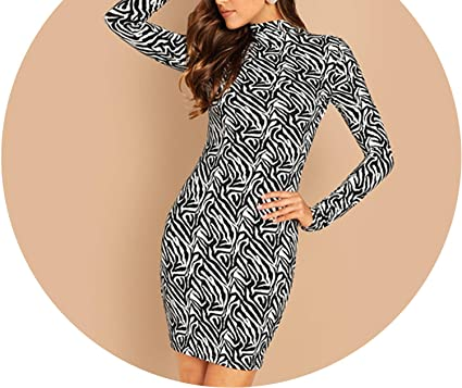 805888bc270 Souiey-shop dresses Turtleneck Bodycon Ladies Long Sleeve Mini Dress Black  and White Print Casual