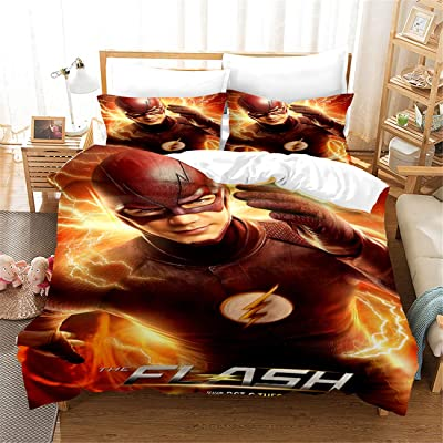 TLIANG Flash Bedding Set for Kids, 3D Cartoon Superhero Duvet Cover Set Twin Size, Super Soft 100% Microfiber 3PC Bed Set,1Duvet Cover and 2Pillowcases: Home & Kitchen