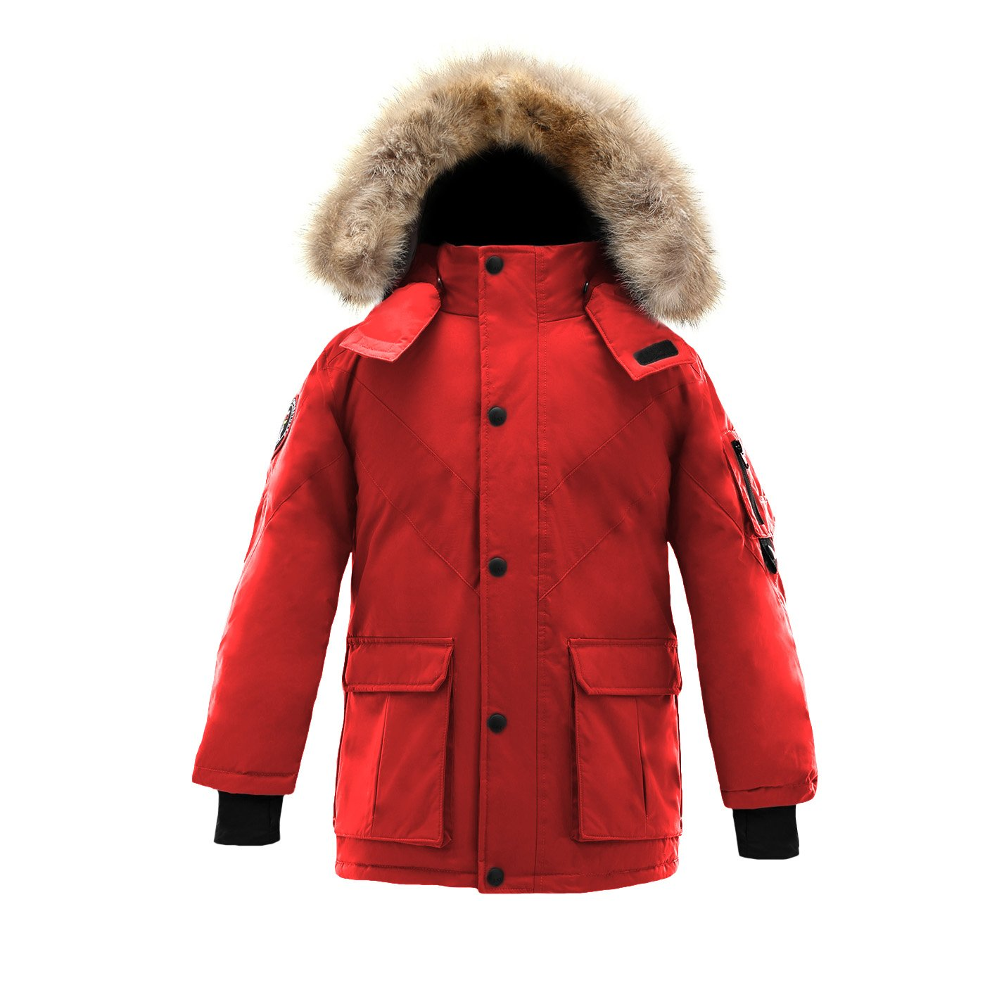 Triple F.A.T. Goose Hesselberg Boys Hooded Goose Down Arctic Parka With Real Coyote Fur (6, Red) by Triple F.A.T. Goose