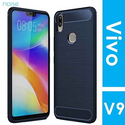 new product e55bf 1e132 Noise Vivo V9 Carbon Fibre Case - Ultra Slim Fit with Brushed Technology  TPU Case || Protective Back Cover for Vivo V9 [Blue Carbon Case]