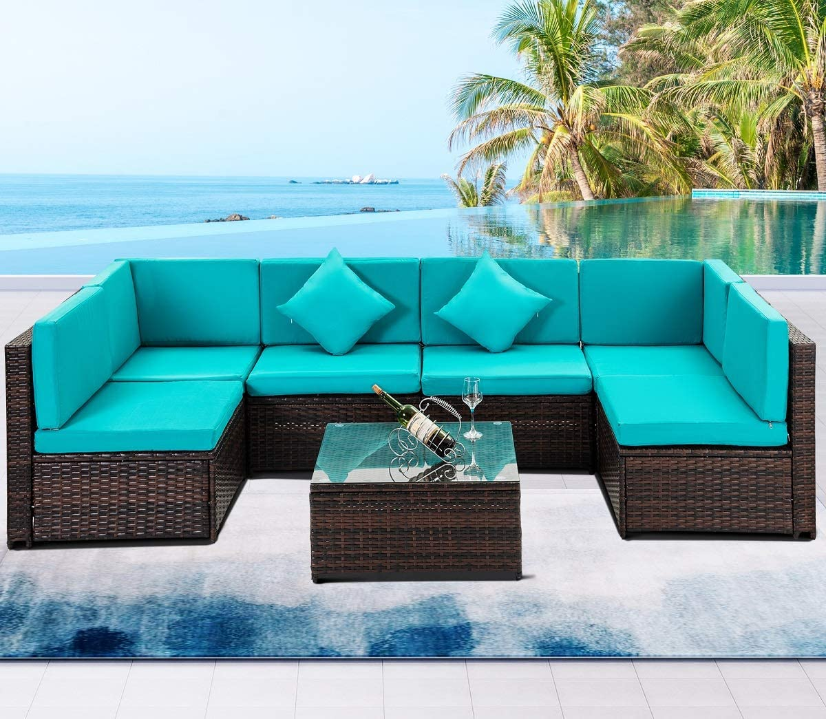 7 PCS Outdoor Rattan Wicker Furniture Set Garden Patio Sectional Sofa with Cushioned Seat and Glass Coffee Table for Poolside, Backyard, Deck or Patio Green Cushion