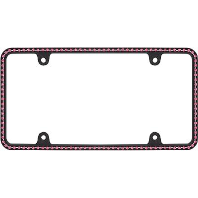Cruiser Accessories 18156 Diamondesque License Plate Frame, Matte Black/Pink: Automotive