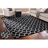 """Stylish Area Rug 7'5"""" X 9'5"""" Carpet Mat Black and White Design Drizzle Home Living Room Floor Interior Decor Contemporary Modern Designer, Durable Stain Resistant, Rectangular Shape, Made in USA"""