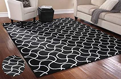 Stylish Area Rug 75quot X 95quot Carpet Mat Black And