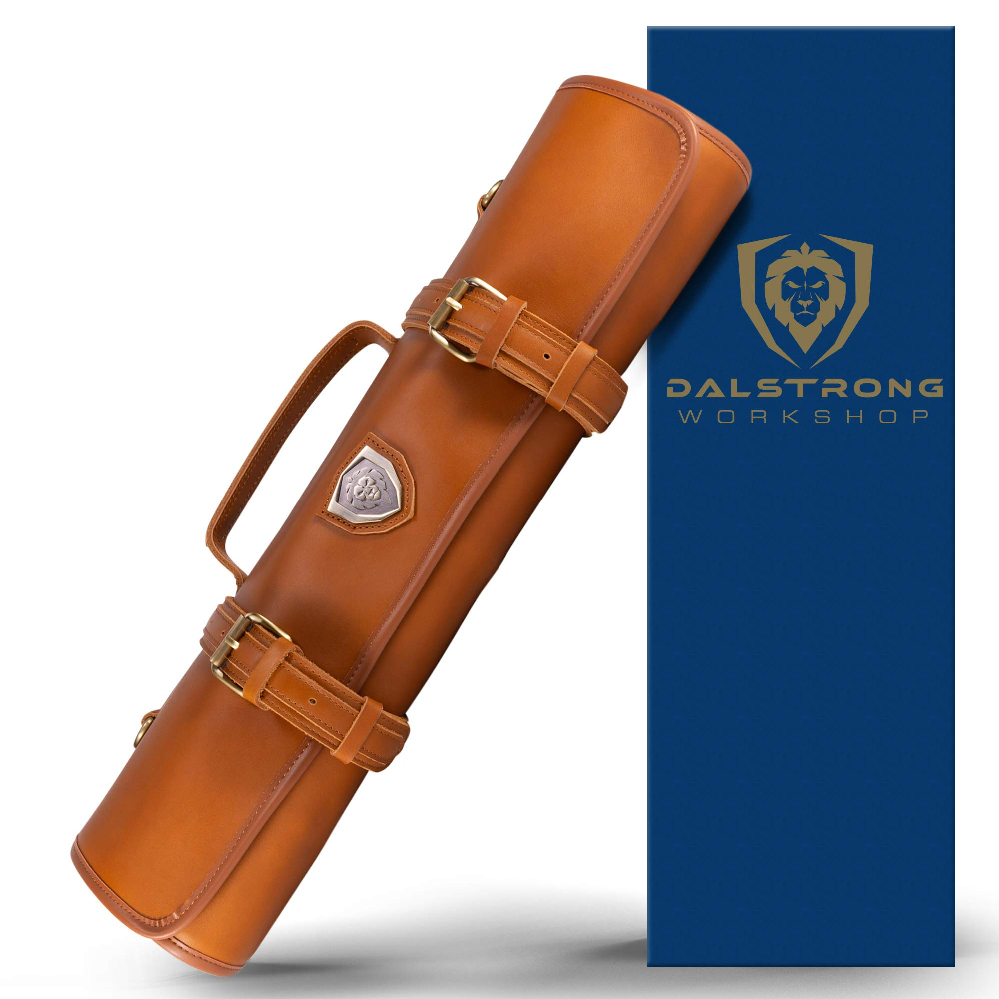 Dalstrong - Vagabond Knife Roll Full & Top Grain Brazilian Leather Roll Bag - 16 Slots - Interior and Rear Zippered Pockets - Blade Travel Storage/Case (California Brown)