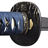 Handmade Sword - Fully Practical Samurai Katana Sword, Turtle Tsuba, Sharp, Fully Hand Forged, 1045 Carbon Steel, Clay Tempered, Full Tang, Blue Scabbard and Handle, Certificate