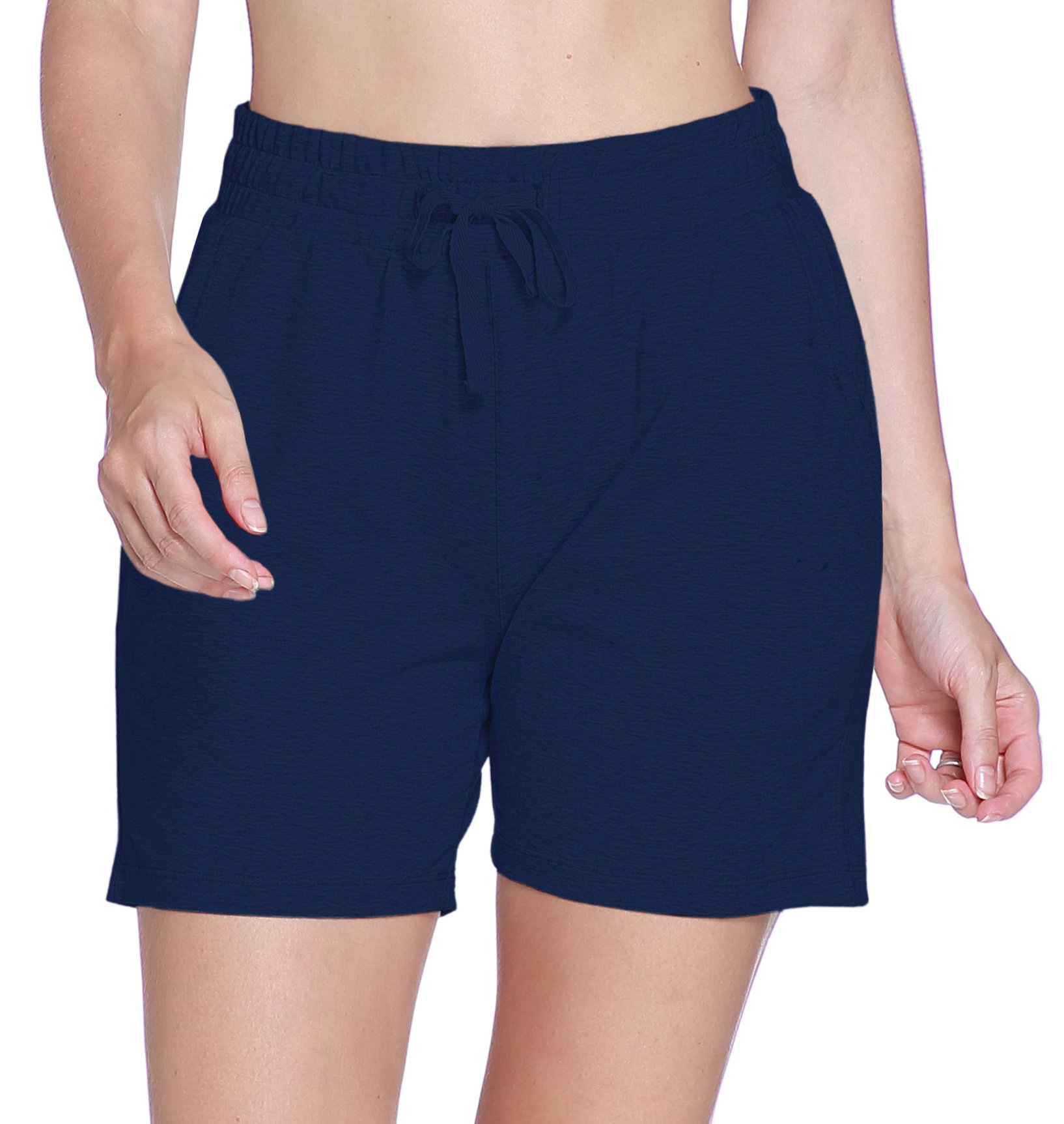 ChinFun Women's Activewear Yoga Workout Lounge Shorts Cotton Sweat Shorts with Pockets Solid Navy M