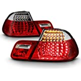 ACANII - For 2004-2006 BMW E46 325Ci 330Ci M3 2-Door Coupe Red Clear LED Tail Lights Brake Lamps Pair Set Left+Right