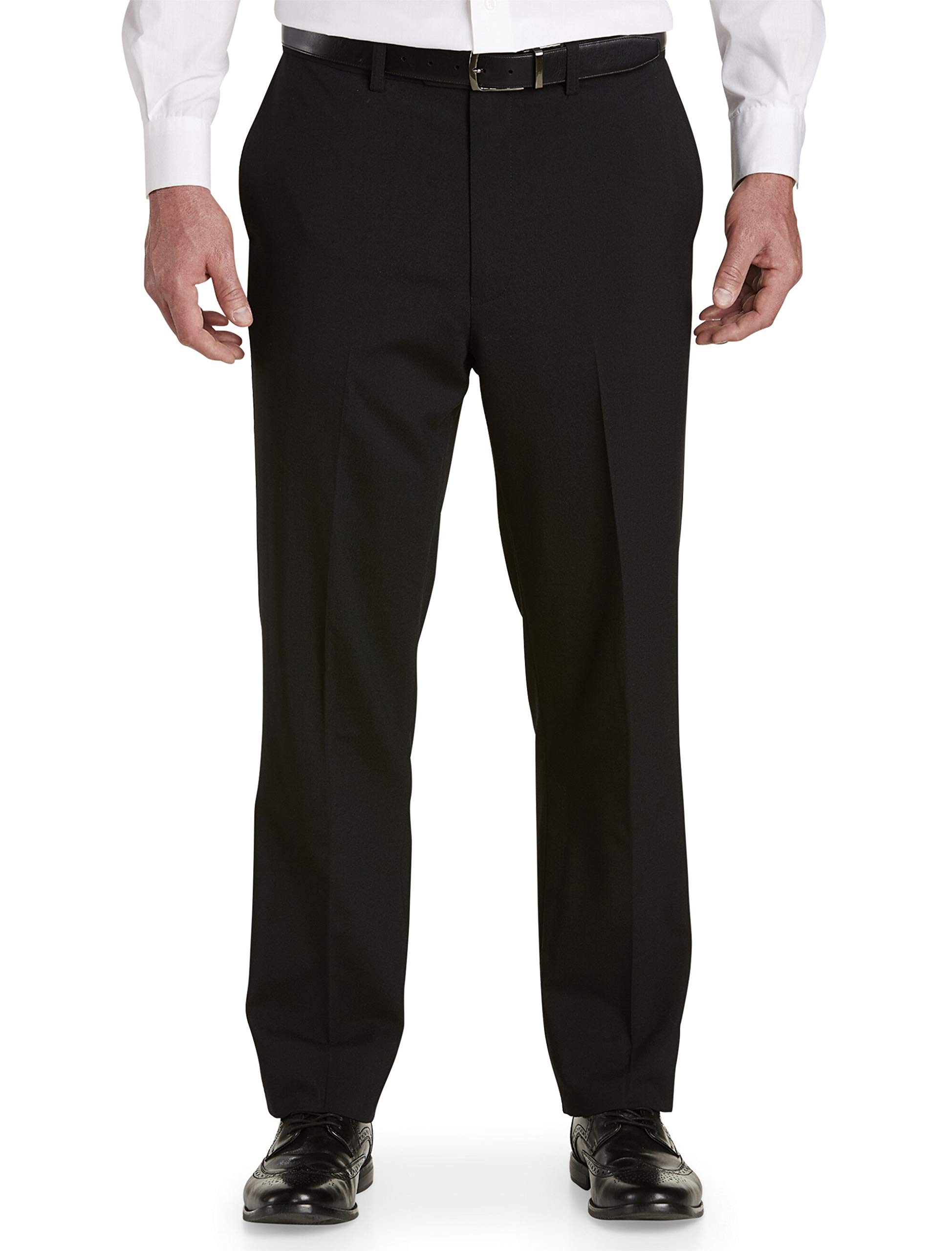 DXL Gold Series Big and Tall Waist-Relaxer Unfinished Flat-Front Suit Pants, Black, 50R UNF by DXL