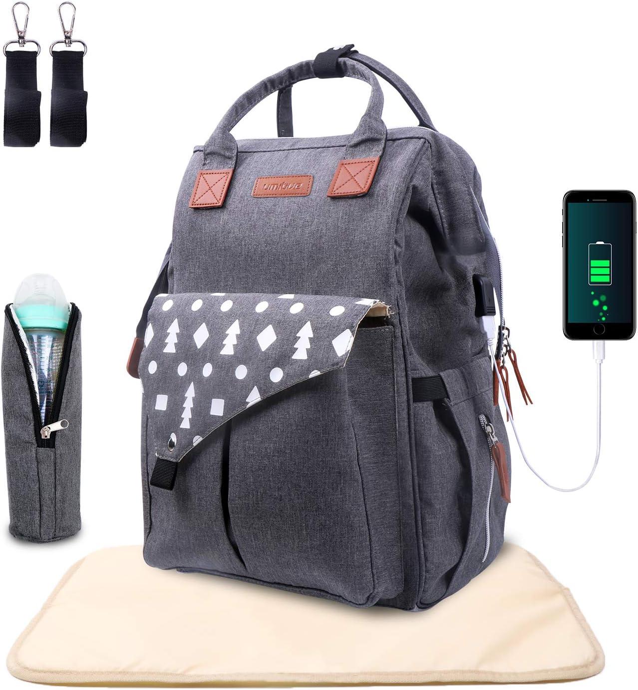 Umitive Mochilas de Pañales para Bebé, Maternal Bolso Multifuncional con USB de Viaje, Gran Capacidad, Impermeable, Enviar 2 Correas de Cochecito y 1 Cambiador y 1 Bolsa Aislante, Gris
