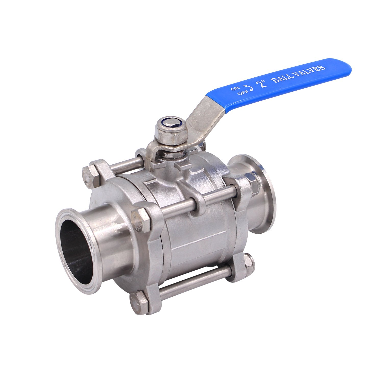 Dernord 2'' Sanitary Ball Valve Fits 2'' Tri-Clamp Clover Stainless Steel 304, PTFE Lined, Two Way & Three Piece (2 Inch Tube OD Quick Clamp)