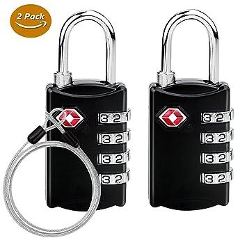 Emooqi TSA Cadenas de sécurité à combinaison de 4 chiffres, pour valise et  bagages, 02452cf0560