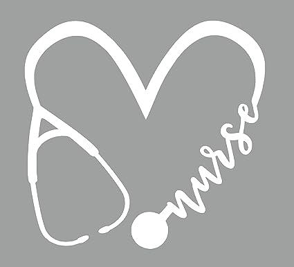 Nurse Stethoscope Heart in Heartbeat Vinyl Car Decal Bumper Sticker US Seller