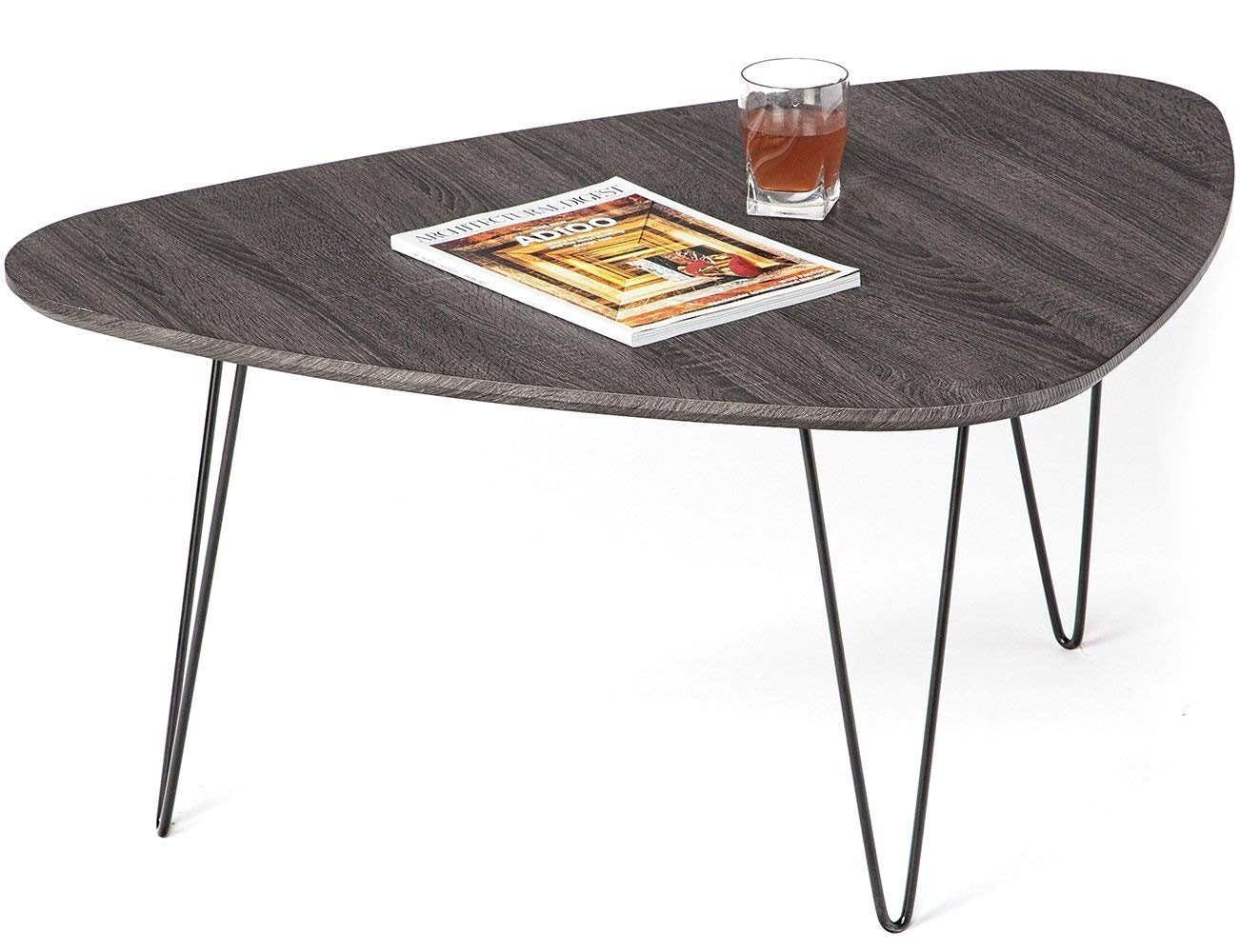 Toys Studio Coffee Table Triangle Wood End table with Durable Steel Legs for Living Room Balcony and Office (Brushed Black Oak)