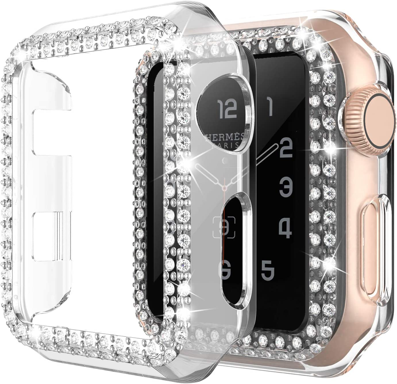 adepoy Apple Watch Case 40mm Series 6/5/4 SE Bling Rhinestone Apple Watch Protective Case Bumper Frame Screen Protector Case Cover for Women Girl iWatch Series 40mm Clear