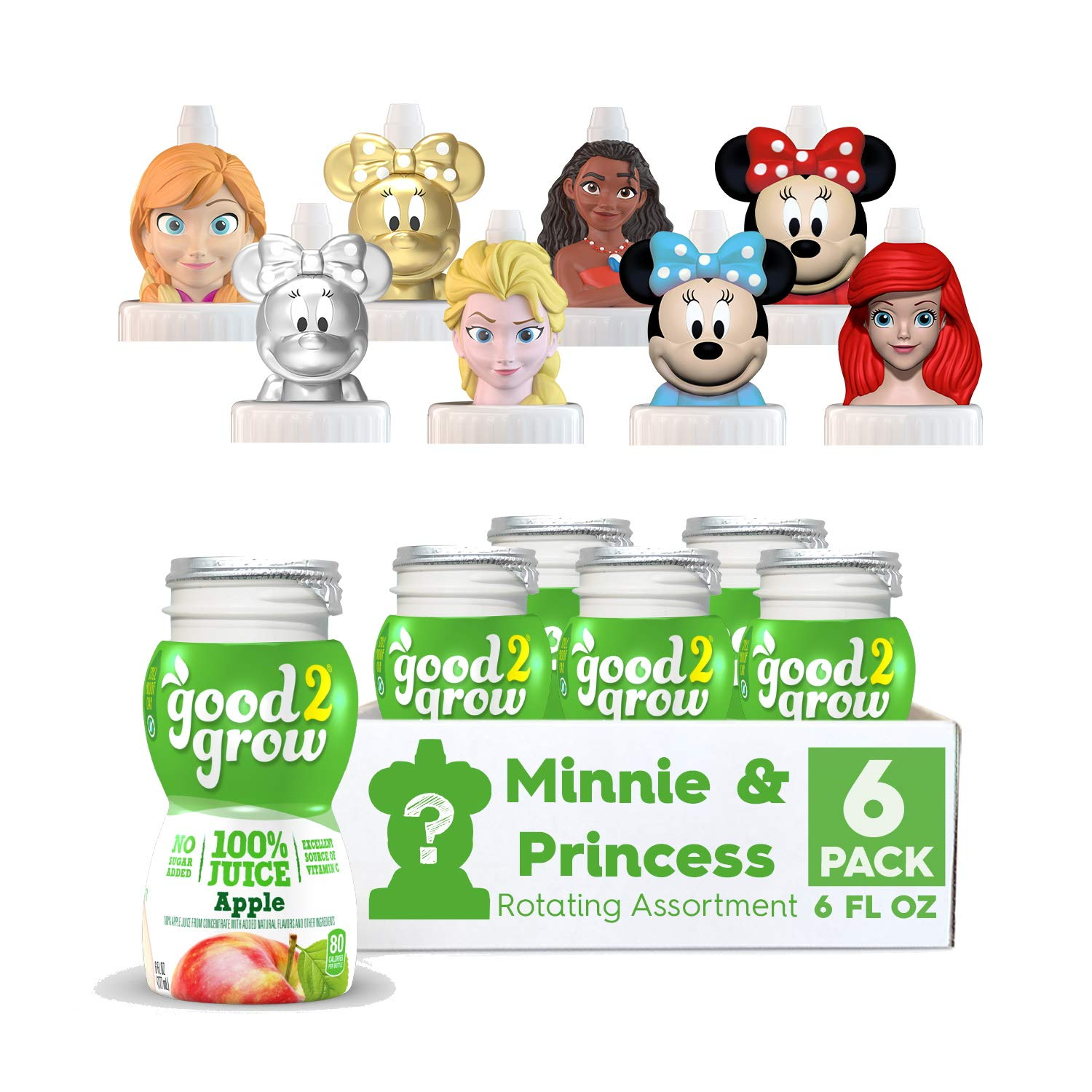 good2grow Minnie and Disney Princess Rotating Character 6 Pack Apple Juice, 6oz- Spill Proof Character Top Bottles, Non-GMO w/no Sugar Added and Excellent Source of Vitamin C, Character Tops May Vary