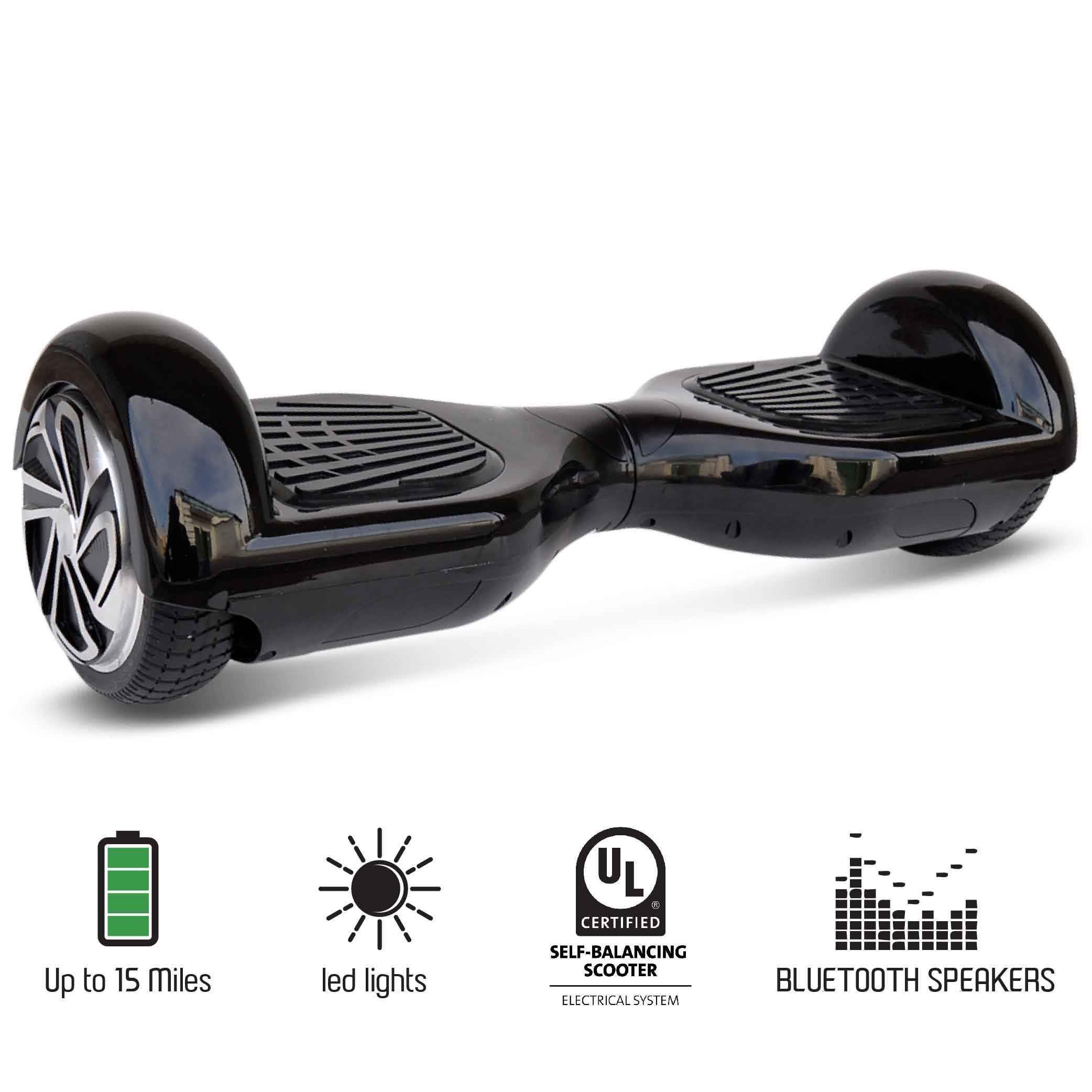 NHT 6.5'' Wheel Hoverboard Electric Smart Self Balancing Scooter with Bluetooth Speaker - UL2272 Certified, Black