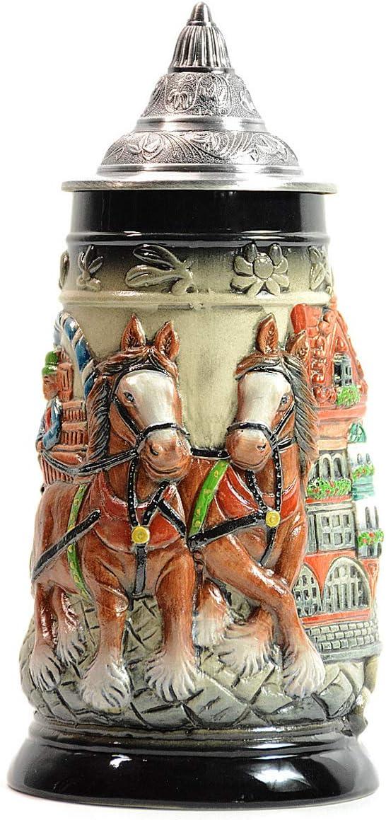 Amoy-Art Jarra de Cerveza Alemana con Estaño Tapa Hecho a Mano Regalo Souvenir Relieve de Carruaje e Iglesia Grabado Estándar de Seguridad Alimentaria Caja de Regalo 0.8 Litre