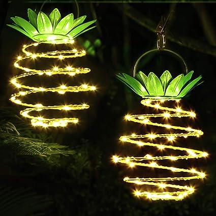 LED Solar Lamps Pineapple Light Sensor Control Lawn Lights for Outdoor Garden