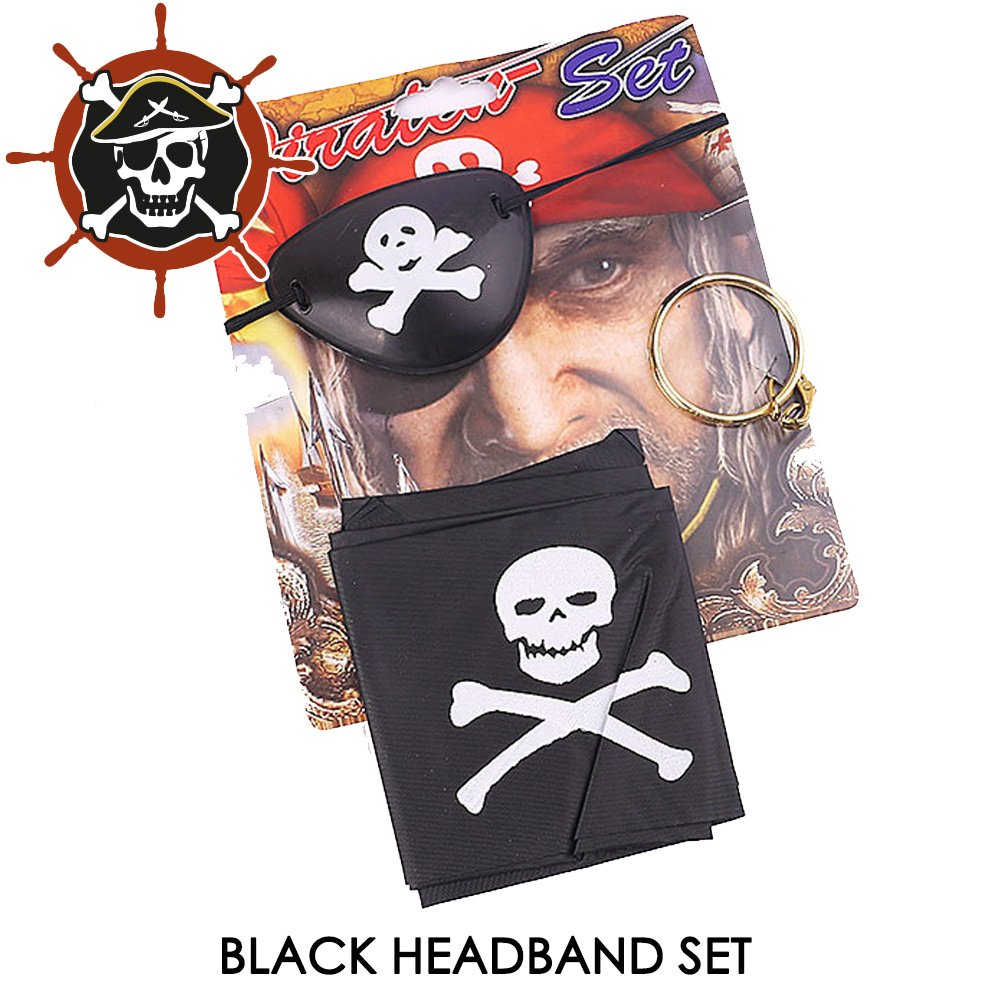 Child's Book Day PIRATE FANCY DRESS COSTUME SET Hat Hook Earring Patch Sword