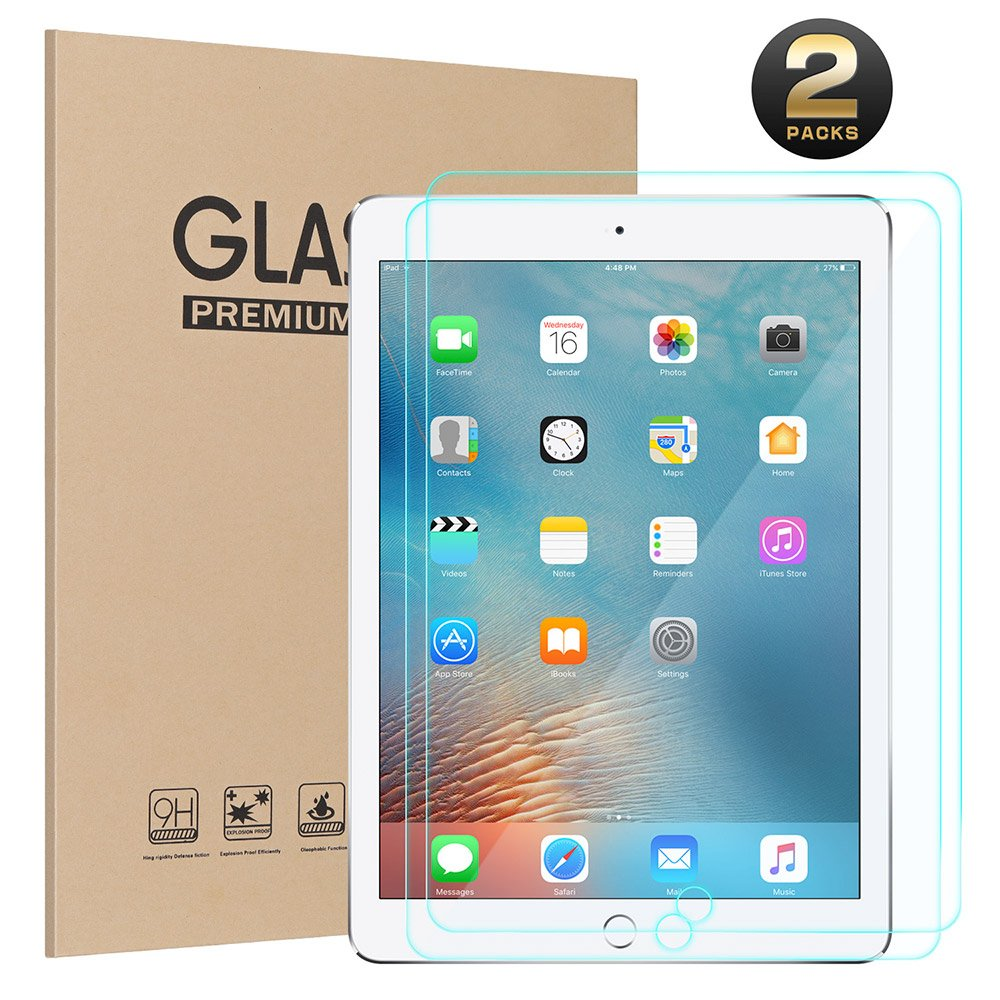 Ztotop Screen Protector for New iPad 9.7 inch (2018/2017) 9H Tempered Glass Screen Protector,High Definition/Scratch Resistant/Anti-Fingerprint,for iPad Air/Air 2,iPad Pro 9.7-Inch(2-Pack).