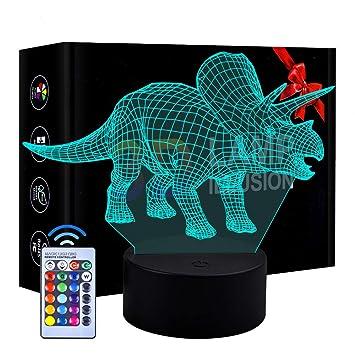Luz de Noche de Dinosaurio LED 3D Patrón 3 y lámpara de decoración de Cambio de Color 7 con Control Remoto para niños niñas niños