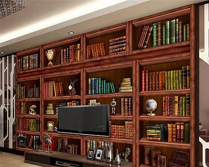 350X260Cm 3D Wallpaper Living Room Bookshelf Bookcase Tv Background Wall Bedroom Mural
