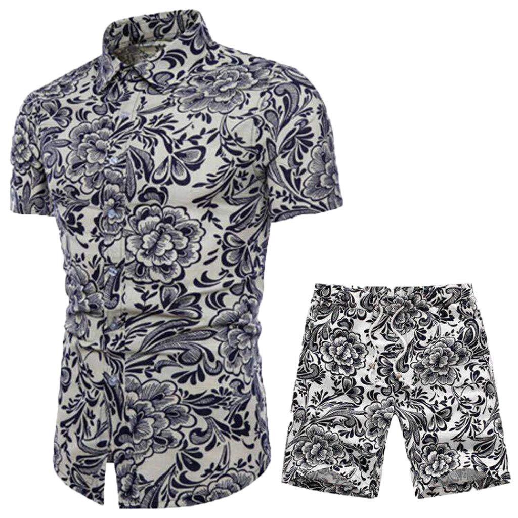 Lefthigh New Short Sleeve Shorts Print Men's Set, Camouflage Summer Fashion for Home Outdoor by Lefthigh