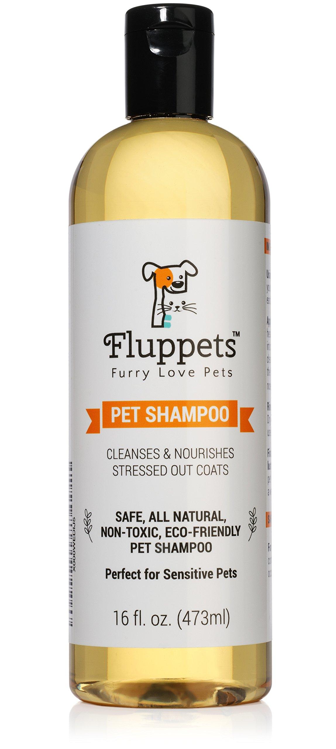 Fluppets Certified Organic Pet Shampoo, Hypoallergenic Non Toxic 1 Bottle 16oz