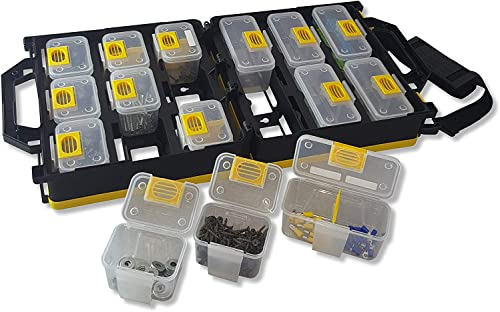 WorkVanEquipment Mobile Hardware Case Tackle Box with Removable Compartment Organizer and Shoulder Strap – US Patented