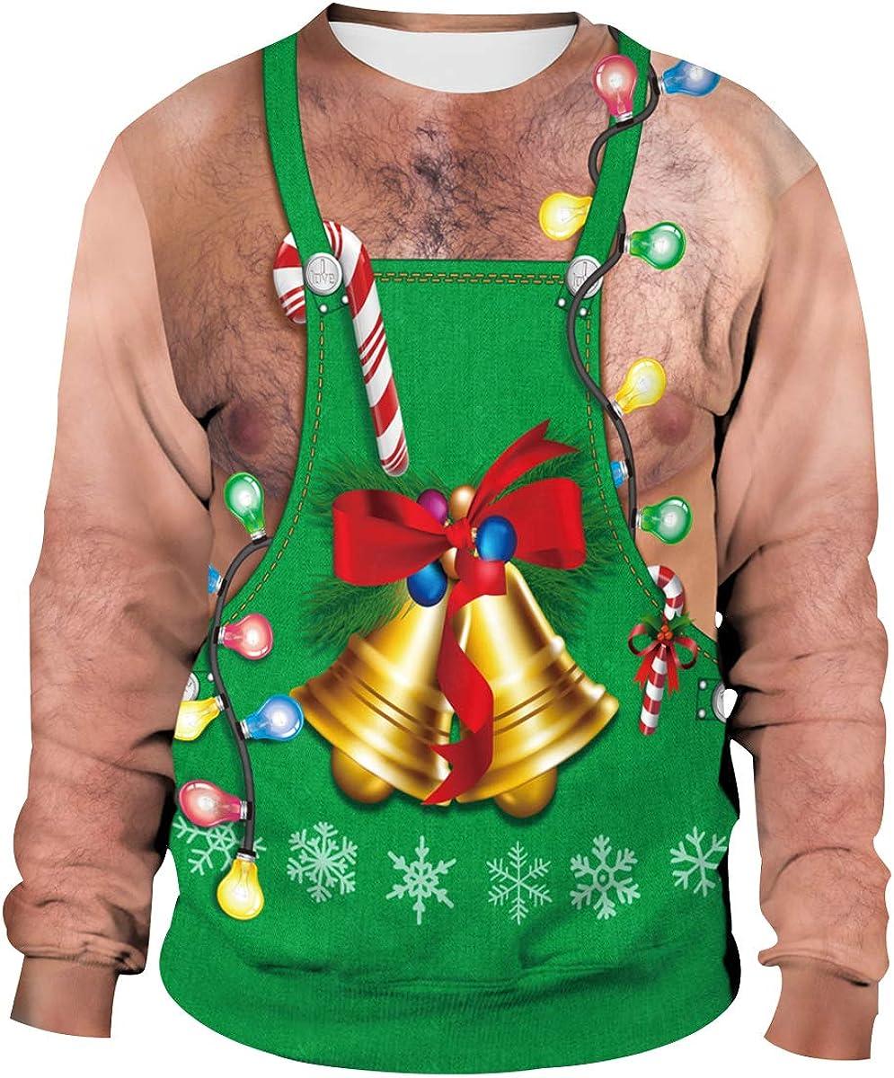 Sudadera Navidad Divertida Unisex Hombre Mujer 3D Estampado Sudaderas Navideñas Jersey Suéter Navideño Feo Sudadera Navideña Graciosa Jerséis Reno Jerseys Navideños Parejas Ancha Larga Invierno