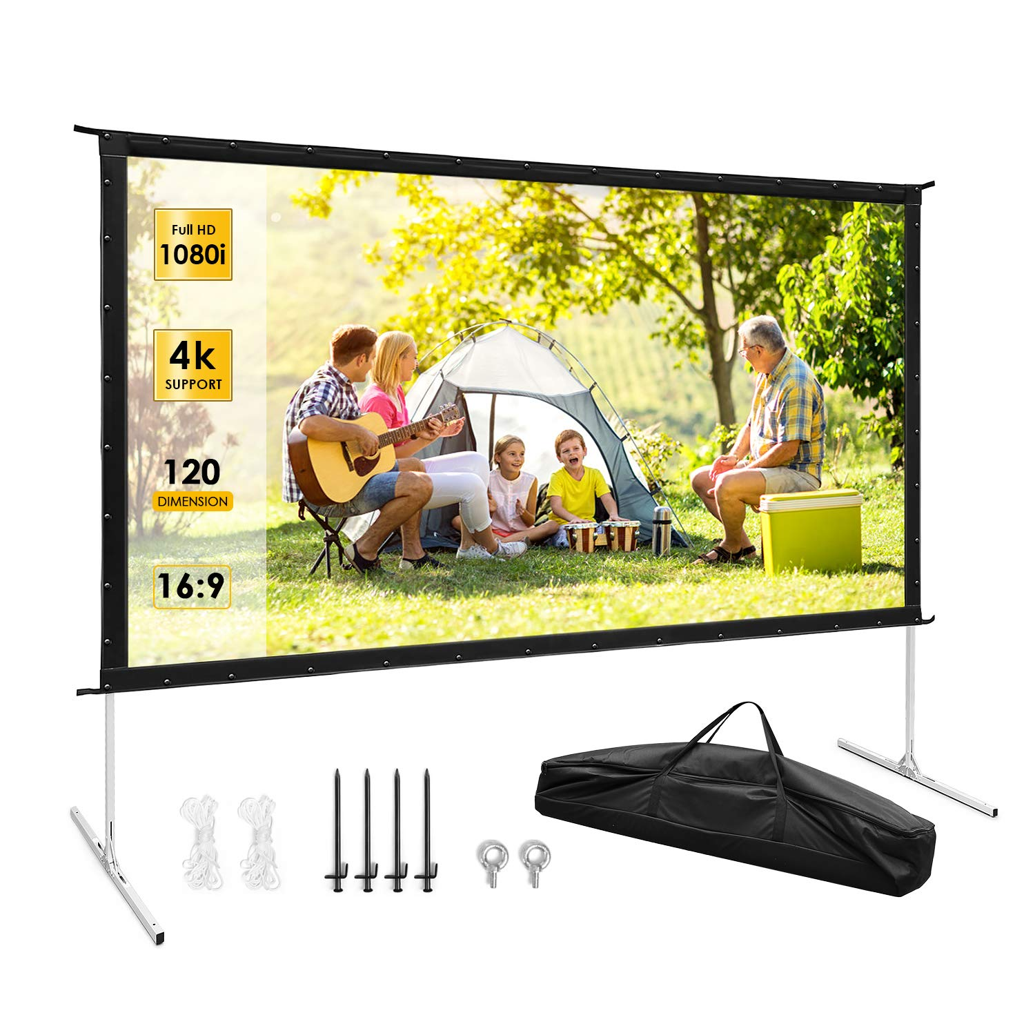 Projector Screen, TUSY Projector Screen 120 inch, 16:9 4K Ultra HD 3D Projector Outdoor Movie with Stand-Folding Wall-Mounted Outdoor Screen for Home Theater Movies