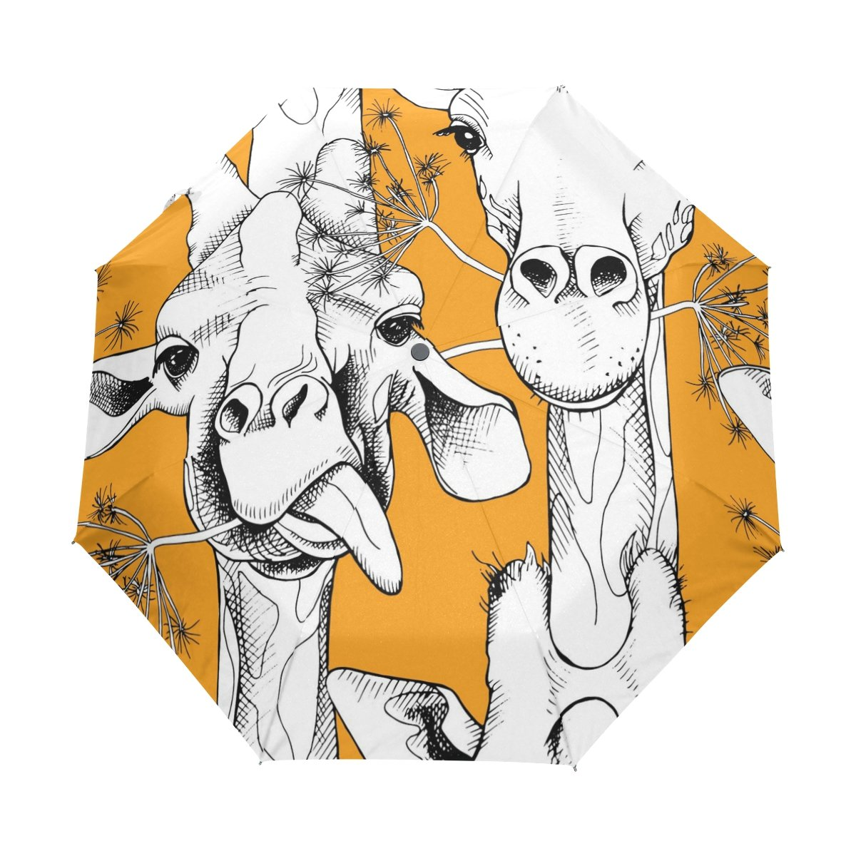 Senya Saobao防風と防雨トラベル傘with自動開いて閉じ折りたたみかわいい鹿オレンジポータブル折りたたみ式太陽雨傘 B07FF3698H