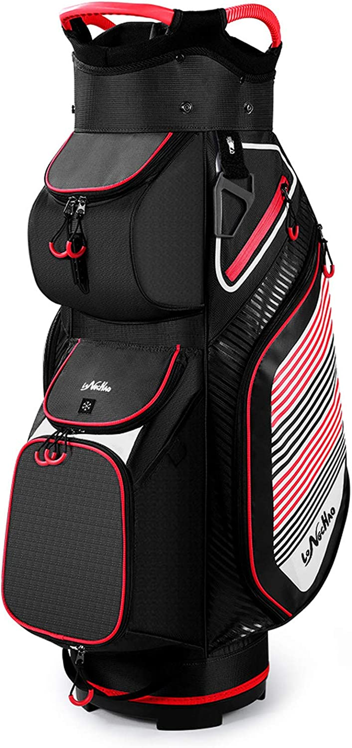 Golf Cart Bag 14 Divider Clubs Organizer Top Lightweight with Cooler Pouch, Dust Cover and Backpack Strap