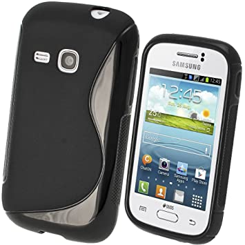 igadgitz S Line Negro Case TPU Gel Funda Cover Carcasa para Samsung Galaxy Young S6310 Android Smartphone + Protector de pantalla