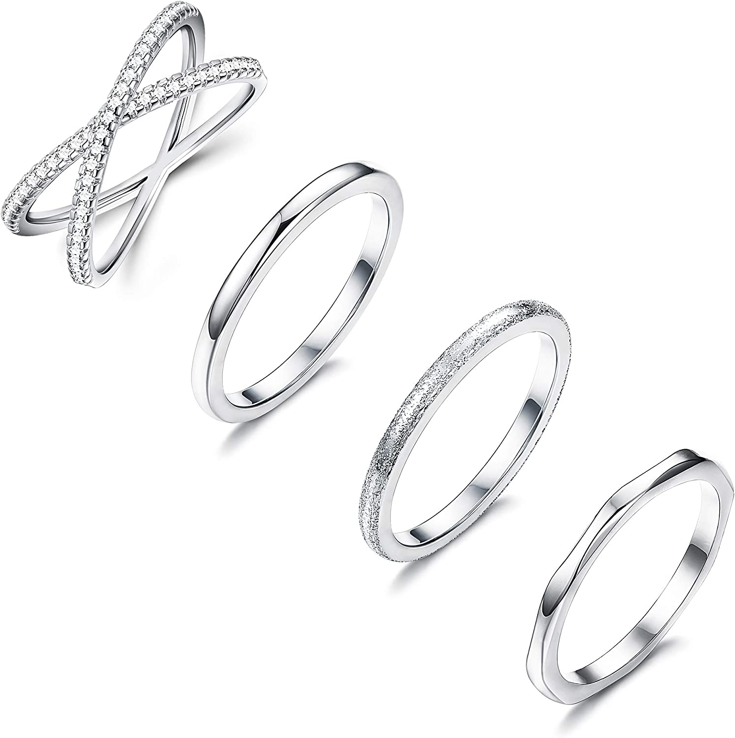 Amazon Com Loyallook 4pcs Stainless Steel Stacking Wedding Band