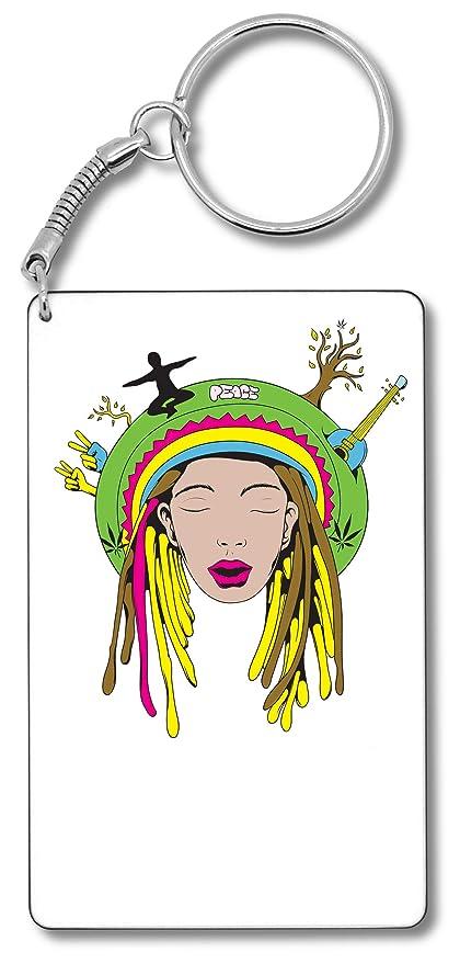 Hippie Peace Hands Yellow Dredas Llavero Llavero: Amazon.es ...