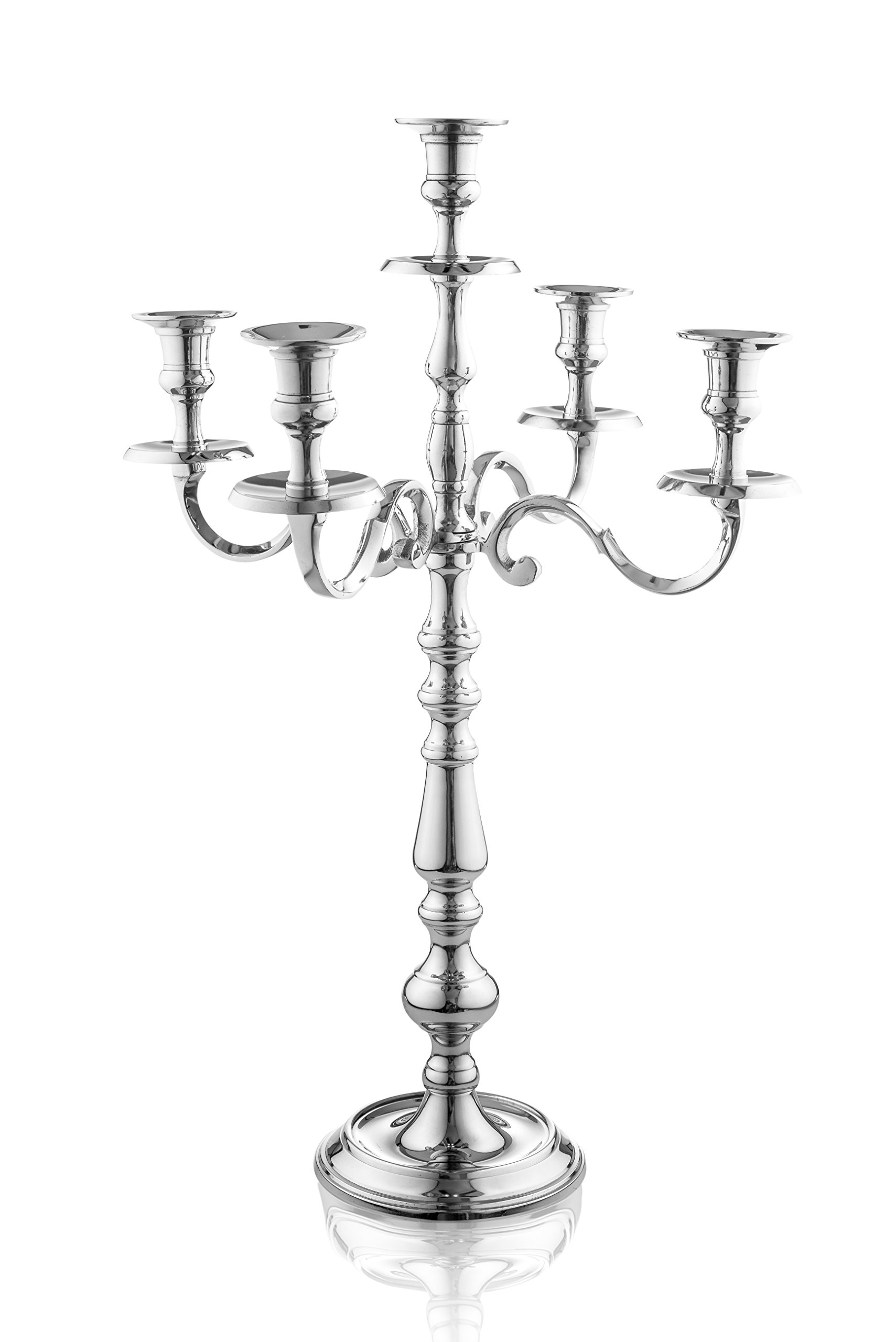 Klikel Traditional 24 Inch Silver 5 Candle Candelabra - Classic Elegant Design - Wedding, Dinner Party And Formal Event Centerpiece - Nickel Plated Aluminum, Mirrored Finish
