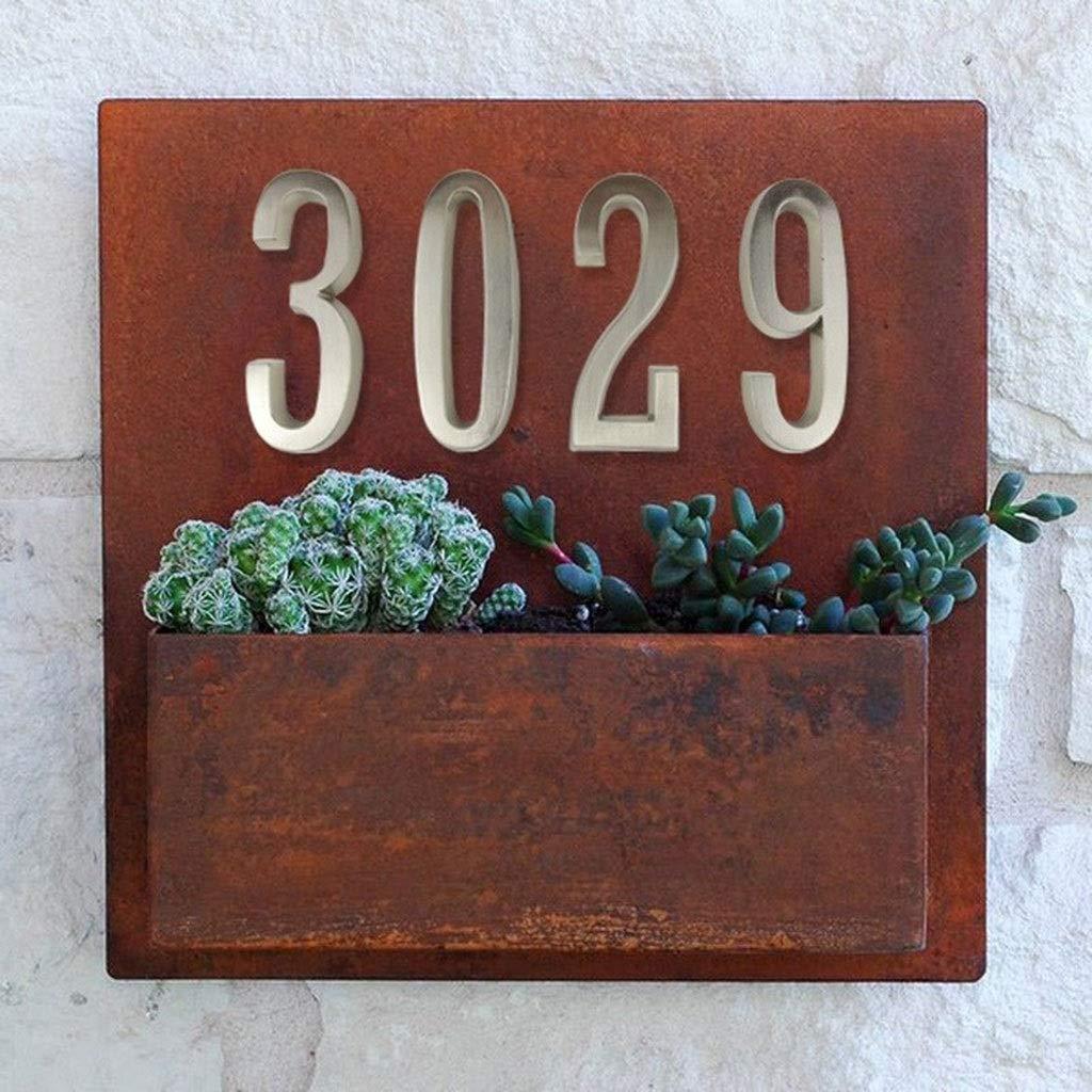 ling N/úmero 10 Cm Autoadhesivo Puerta De La Casa Color : 4 Domicilio N/úmeros De Buz/ón De La Puerta De N/úmero De Inmueble Digital Etiqueta Exterior Signo # 0-9 Plata