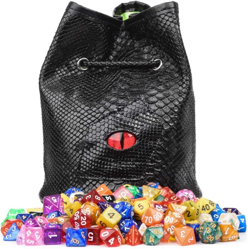 DND Dice Bag with Pockets - Large Dice Bag with Black Dragon Scales and Real Glass Dragon Eye - Rogues & Knaves