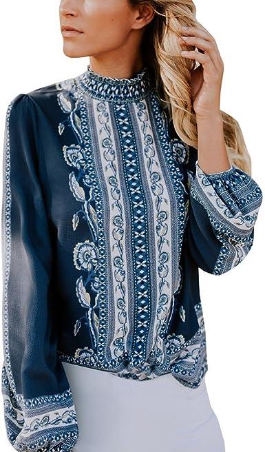 SHOBDW LiquidacióN De Ventas Moda SeñOras Formales De La Oficina Mujer De ImpresióN Gasa Collar del Soporte Camisa Retro Blusa OtoñO Invierno De Manga Larga Tops: Amazon.es: Ropa y accesorios