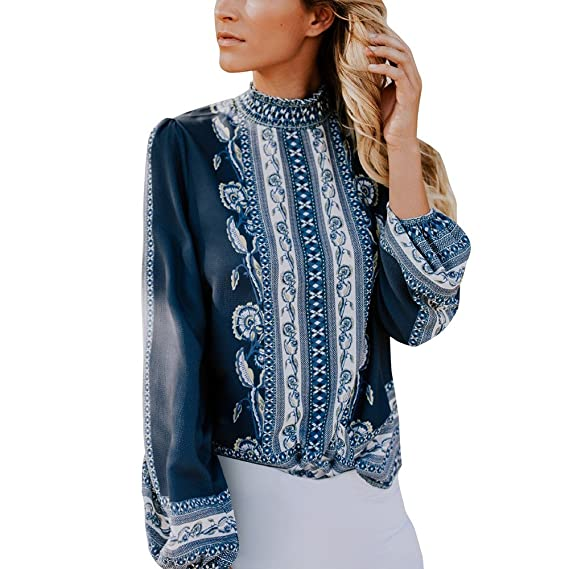 Fashion Womens Casual Long Sleeve Chiffon Shirts Stand Collar Floral Print Loose Tunic Pullover Blouse Tops at Amazon Womens Clothing store: