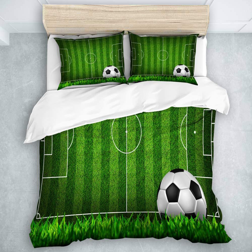 JOSENI Duvet Cover Set Soccer Football on Grass Field Decorative 3 Piece Bedding Set with 2 Pillow Shams Twin Size