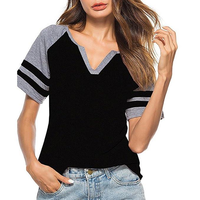 Camiseta Mujer Verano de Cuello en v Mangas Cortas Suelto Rayas ...